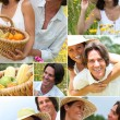 Stock Photo: Summery couple in a meadow montage