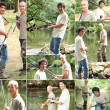 Stock Photo: Montage of two men fishing