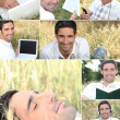 Montage of a man relaxing in the grass — Stock Photo