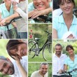 Collage of a couple with their bicycles — Stock Photo