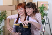 Two female flat-mates celebrating move — Stock Photo