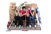 Unhappy housemates cleaning their flat before moving out — Stock Photo
