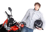 Young person with motorbike — Stock Photo