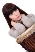 Brunette posing with bongo — Stock Photo