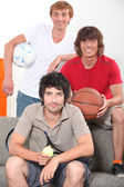 Boys with different balls — Stock Photo