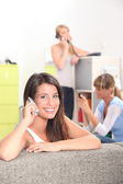 Girls on the phone — Stock Photo