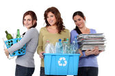Women recycling domestic waste — Stok fotoğraf