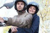 Couple on motorcycle — Stock Photo