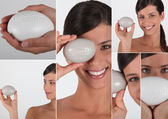 Various shots of a woman with soap — Stock Photo