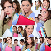 Montage of female students worried about exams — Stock Photo