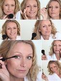 Blond woman applying makeup — Stock Photo