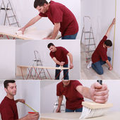 Collage of man renovating a house — Stock Photo