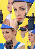 Sexy craftswoman holding a drill — Stock Photo