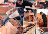 Mosaic of mason working on site — Stock Photo