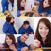 Montage of two plumbers preparing to cut pipe — Stock Photo