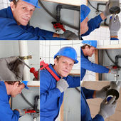 Montage of plumber working on sink — Stock Photo