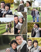 Montage of married couple walking through the park in autumn — Stock fotografie