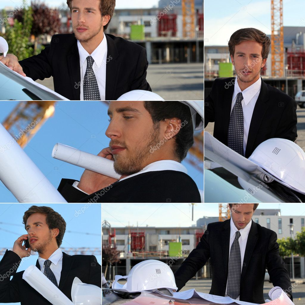 Montage of graduate architect working on site — Stock Photo #9748700