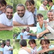 Collage of a couple enjoying a summer's day together — Stock Photo