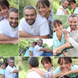 Collage of a couple enjoying a summer's day together — Stock Photo #9750032
