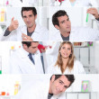 Snapshots of male and female laboratory technicians — Stockfoto