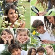 Royalty-Free Stock Photo: Collage of children using a magnifying glass outdoors