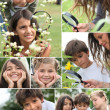 Collage of children using a magnifying glass outdoors — Stock Photo