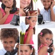 Stock Photo: Montage of two young children with telephone