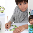 Montage of little boy recycling - Stock Photo