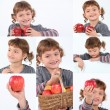 Collage of a girl holding apples — Stock Photo #9750368