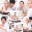 Montage of friends eating dinner at home — Stock Photo