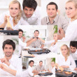 Montage of friends eating dinner at home — Stock Photo #9750438