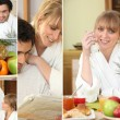 Happy couple having breakfast together at the weekend — Stock Photo #9750583