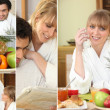 Happy couple having breakfast together at the weekend — Stock Photo