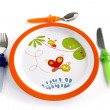 colorful plate and cutlery for a child — Stock Photo #9750880