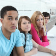 University student sat in a row — Stock Photo