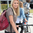 Student on campus with bike — Foto Stock #9751902