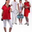 Four active teenagers — Stock Photo