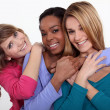 Stock Photo: Portrait of three cheerful girls