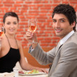 Couple having a meal in a fancy restaurant — Stock Photo