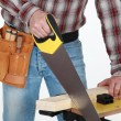 Royalty-Free Stock Photo: Man sawing plank of wood