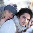 Portrait of a couple by wintertime - 