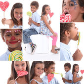 Niños chupar piruletas — Foto de Stock