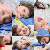 Mosaic of toddler laying on favorite towel — Stock Photo
