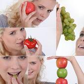 Mosaic of woman holding fruit — Stock Photo