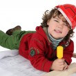 Foto Stock: Kid dressed as handyman