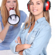 Teenager shouting in loud speaker — Stock Photo #9769412