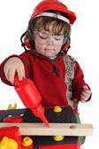 Little boy playing builder — Foto Stock