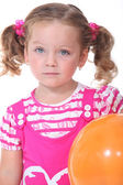 Little girl with orange balloon — Stock Photo