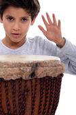 Little boy with bongo drum — Stock Photo